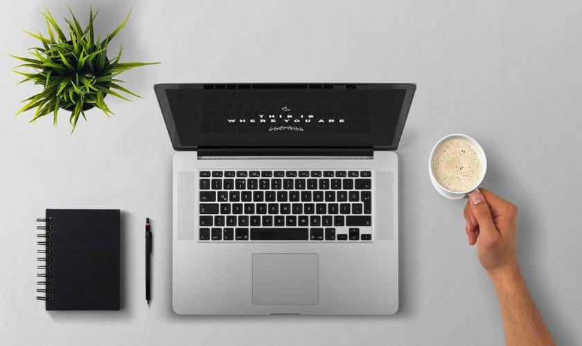 Aufgeklappter Laptop, Pflanze, Notizbuch und Kaffeetasse
